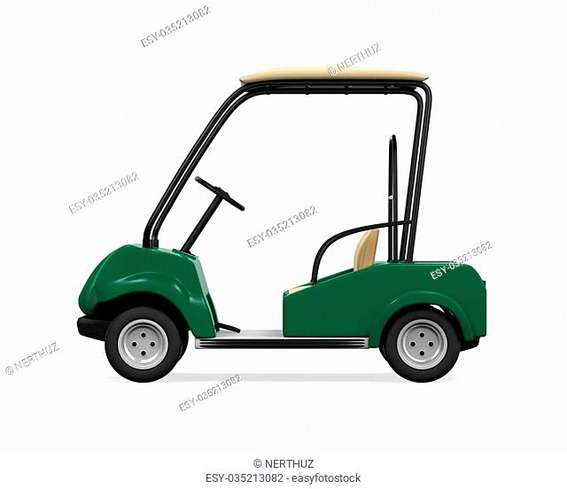 Golf Car isolated on white background. 3D render