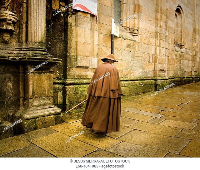 Pilgrim in Santiago de Compostela City, Galicia Region, Spain, Europe