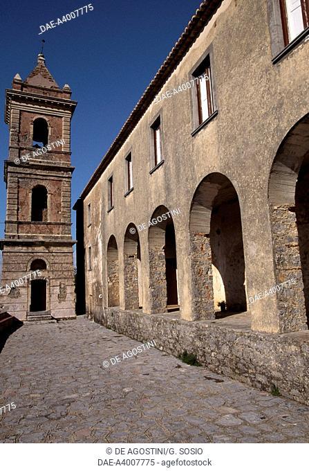 View of the Sanctuary of the Madonna di Pietrasanta (13th-17th century), San Giovanni a Piro, Campania, Italy