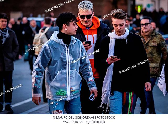 FLORENCE, Italy- January 10 2019: Men on the street during the Pitti 95