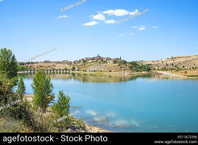 Linares reservoir and overview of the village. Maderuelo, Segovia province, Castilla Leon, Spain
