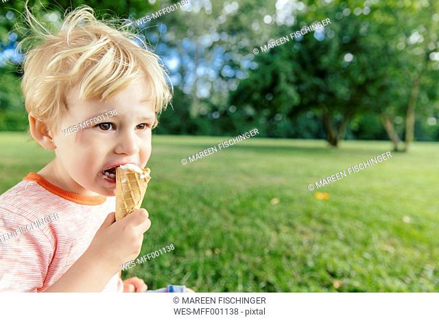 Germany, North Rhine-Westphalia, Bonn, blonde male toddler eating icecream