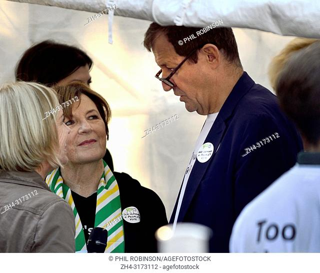 Alastair Campbell talking with Delia Smith and Mariella Frostrup backstage before speaking at the People's Vote March in support of a second Brexit referendum
