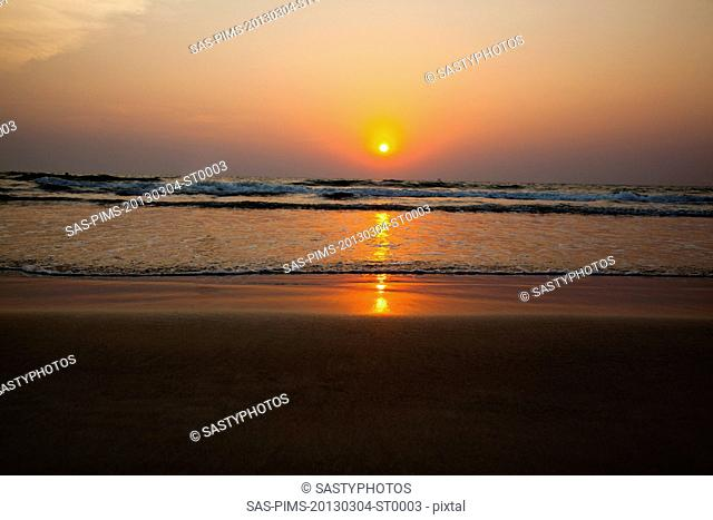Sunset over the sea, Goa, India