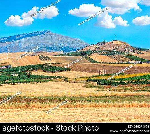 Beautiful landscape of Sicily summer countryside in Italy