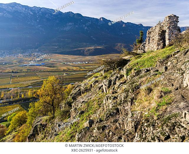 Ruins on mount Castelfeder. View into the Etsch Valley in the South Tyrolean Unterland - Bassa Atesina. europe, central europe, italy, november