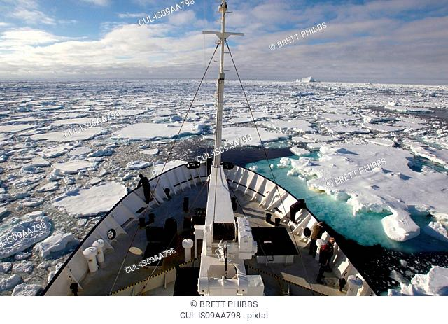 View of ice floe in the southern ocean from ship, 180 miles north of East Antarctica, Antarctica
