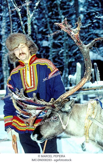 Finland, Lapland, Rovaniemi, lapp in traditional costume
