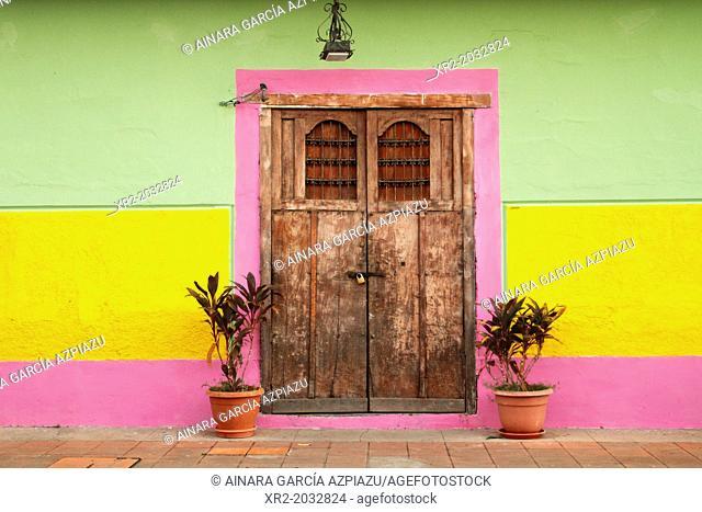 Typical door on a street of Granada, Nicaragua