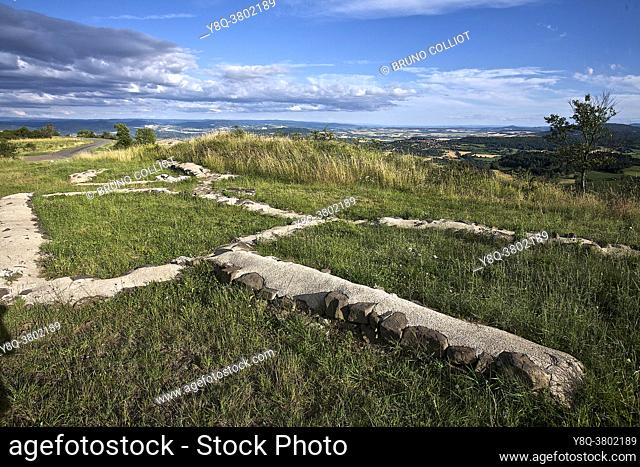 View of the western rampart of the Gallic oppidum of Arvernes, Puy de Dôme, France. . the Gallic oppidum of Gergovia, famous for its siege which saw the troops...