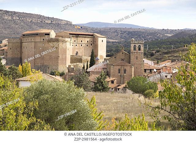 Autumn in Mora de Rubielos village. Teruel, Aragon, Spain