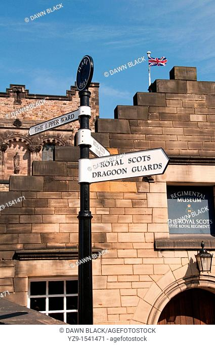 Hawk Hill signpost with the Royal Scots Regimental Museum entrance, Edinburgh Castle, Edinburgh, Scotland, UK