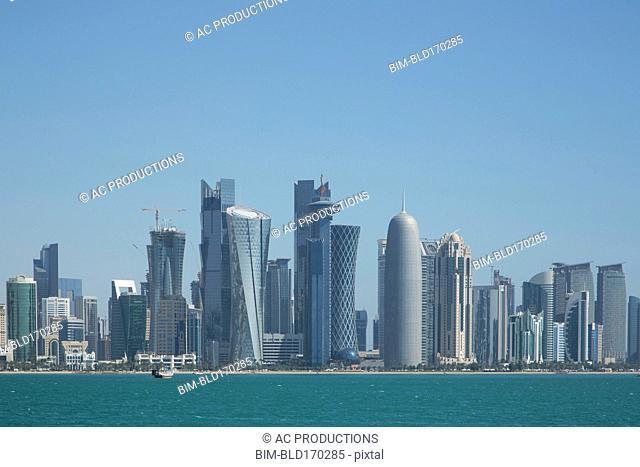 Doha city skyline on waterfront, Doha, Qatar