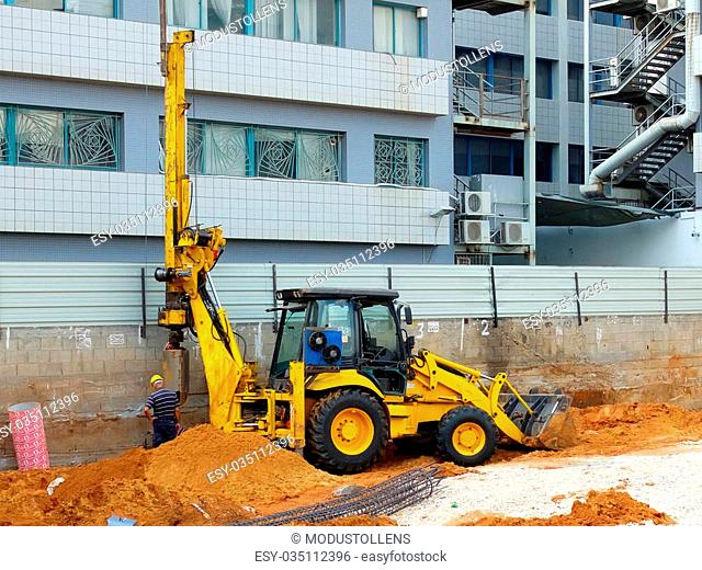 Construction site piling machine Stock Photos and Images