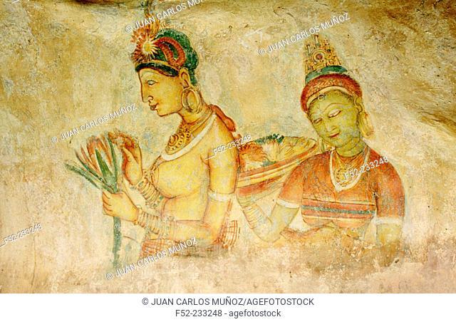 Frescoes in Sigiriya. Sri Lanka