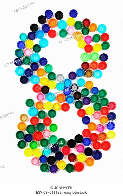 8 - number from the plastic caps isolated on the white background