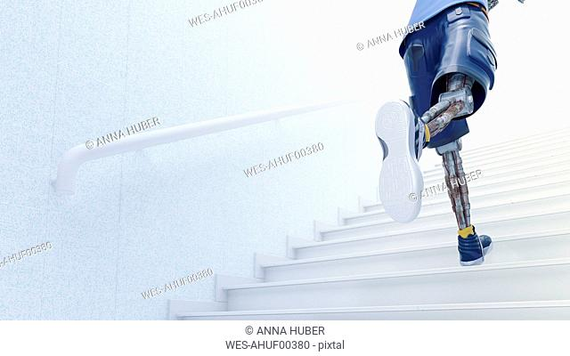 Robot running up stairs, 3d rendering