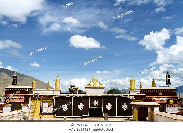 Lhasa, Tibet, China - The view of the golden roof of Romoche temple in the daytime