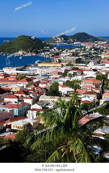 Elevated view over the town from Blackbeard's Castle, St. Thomas, U.S. Virgin Islands, West Indies, Caribbean, Central America