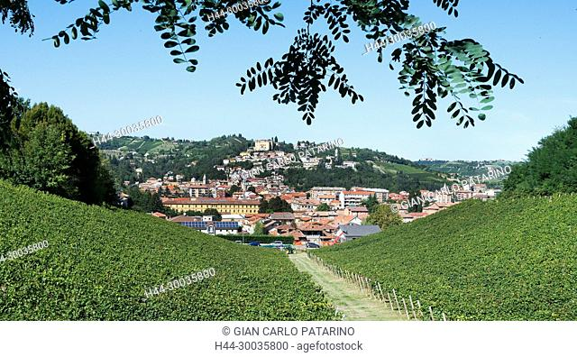 Italy, panorama of vineyards of Piedmont Langhe-Roero and Monferrato on the World Heritage List UNESCO. View of Canelli. Italy, Piedmont, Vineyards