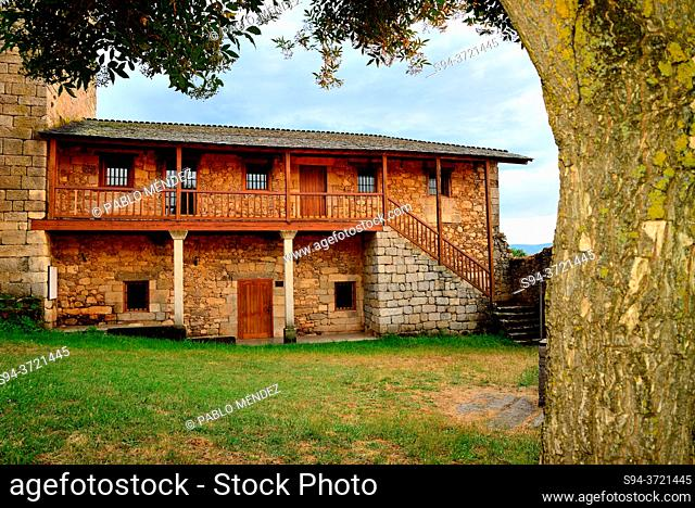 Patio and country house of the castle of O Bolo, Orense, Spain