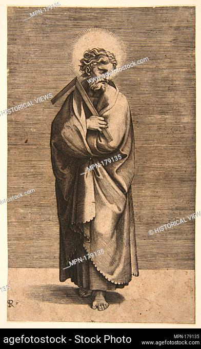 Saint Thomas holding a square rule, his head turned to the right. Series/Portfolio: Christ and the Apostles; Artist: Marco Dente (Italian, Ravenna