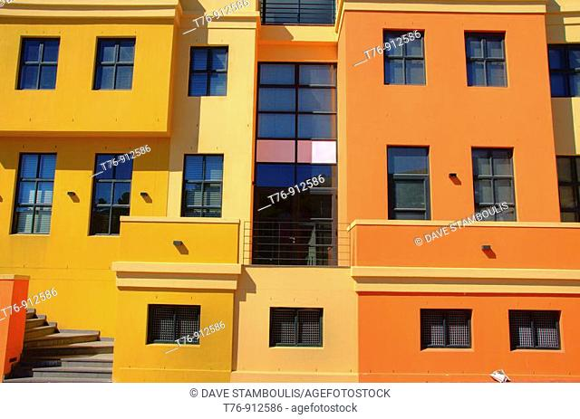 colorful homes in the Bo Kapp Cape Malay quarter in CapeTown South Africa