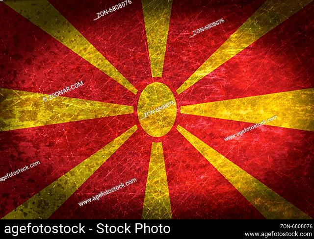 Old rusty metal sign with a flag - Macedonia