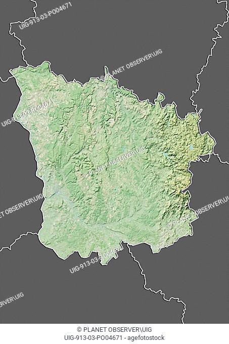 Departement of Nievre, France, Relief Map