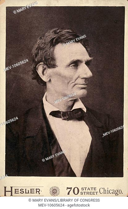 Abraham Lincoln, presidential candidate, half-length portrait, facing right. Photo of Lincoln made from a negative taken in Springfield, Illinois