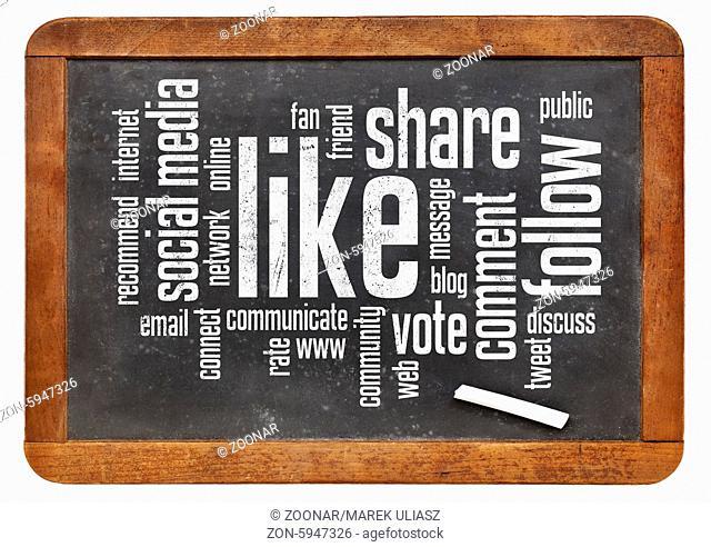 social media concept - like, share, follow word cloud on a vintage blackboard