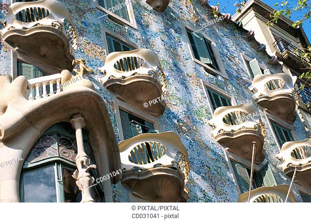 Detail of the facade of Batlló House (Gaudí, 1904-1906). Barcelona. Spain