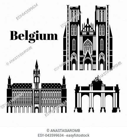 City sights. Brussels architecture landmark. Belgium country flat travel elements. Cathedral of St. Michael and St. Gudula