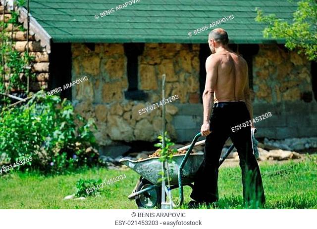 man garden work