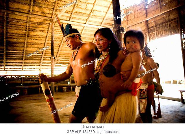 Indian, Indigenous dance, Dessano Tribe, Tupé Community, Manaus, Amazônia, Amazonas, Brazil