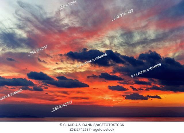Red evening sky above the Pagasitc Gulf, Thessaly, Greece