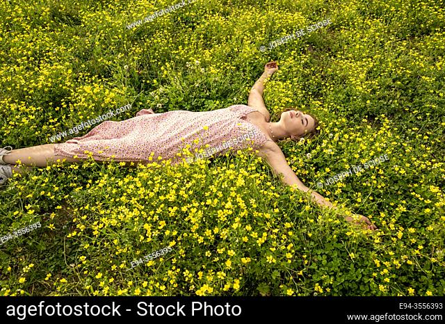 A 14 year old brunette girl lying in a field of buttercup flowers
