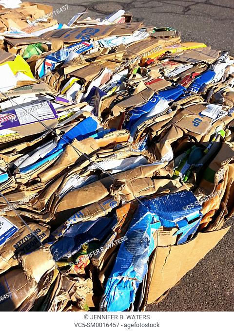Baled cardboard for recycling