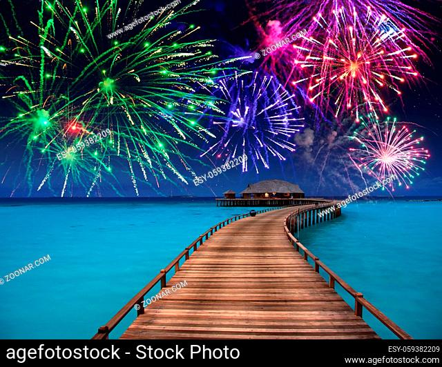 New Year's fireworks over the tropical island
