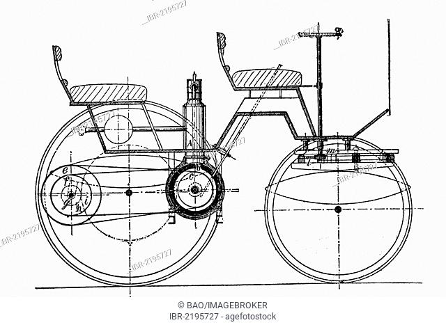 Construction plan of a car with a daimler engine, historical illustration, wood engraving, about 1888