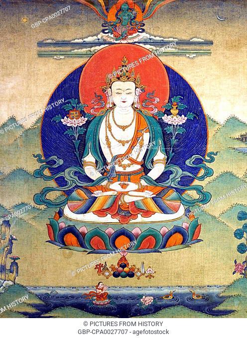 China / Tibet: Painted tanka of Kunzang Akor, the meditational form of the Bon or Bon Po deity Shenla Okar, c. 18th-19th century