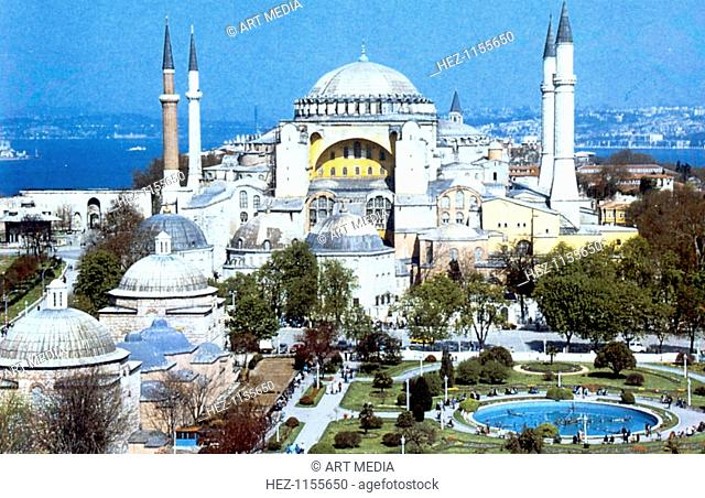 Hagia Sophia, Istanbul (Constantinople), Turkey, 1980s. Byzantine Cathedral with a domed basilica built in 530-537 under the direction of Justinian I