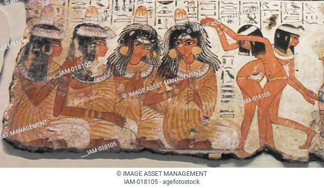 An entire wall of the tomb-chapel showed a feast in honour of Nebamun. Naked serving girls and servants wait on his friends and relatives