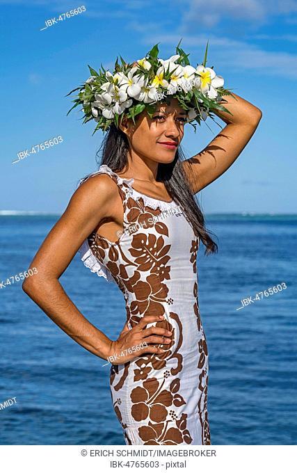 Young woman with flower wreath, Raiatea, French Polynesia