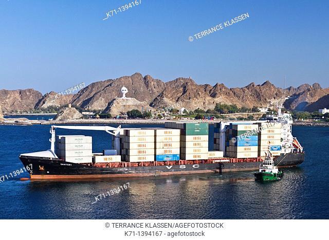 A container ship entering Port Sultan Qaboos in Muscat Oman