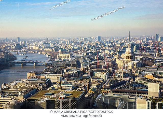Aerial view of west London and the river Thames