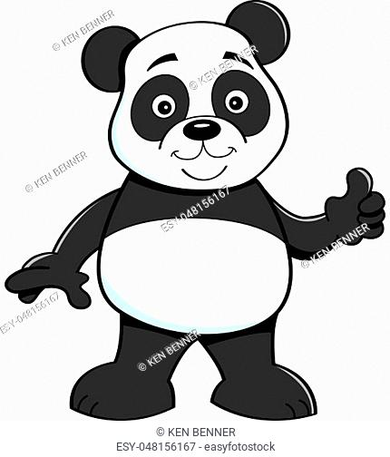 Cartoon illustration of a panda bear giving thumbs up