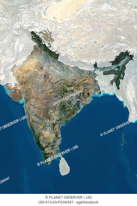 Satellite view of India (with country boundaries and mask). This image was compiled from data acquired by Landsat 8 satellite in 2014