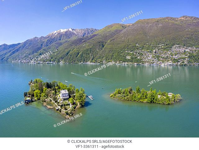Aerial view of the Brissago Islands near Ascona, on the northern part of the Lake Maggiore. Canton Ticino, Switzerland
