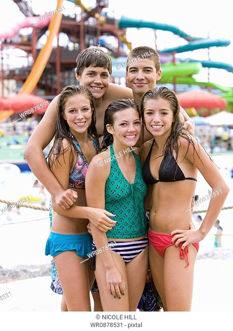 teenagers at a waterpark